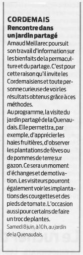 Visite jardin partagé, Presse Océan mai 2019